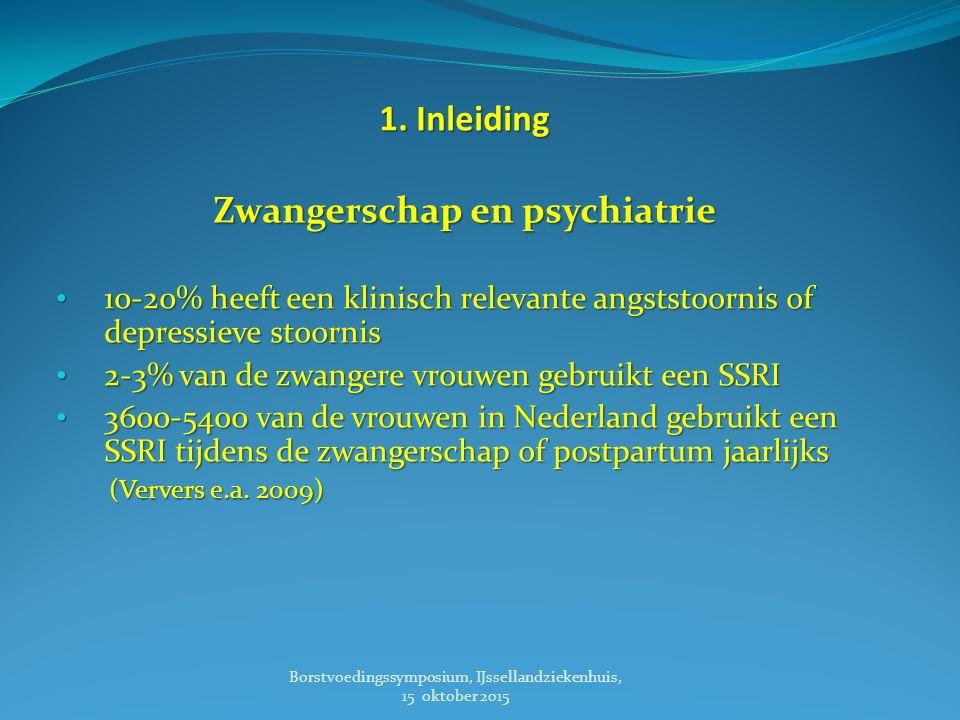 1. Inleiding Zwangerschap en psychiatrie 10-20% heeft een klinisch relevante angststoornis of depressieve stoornis 10-20% heeft een klinisch relevante