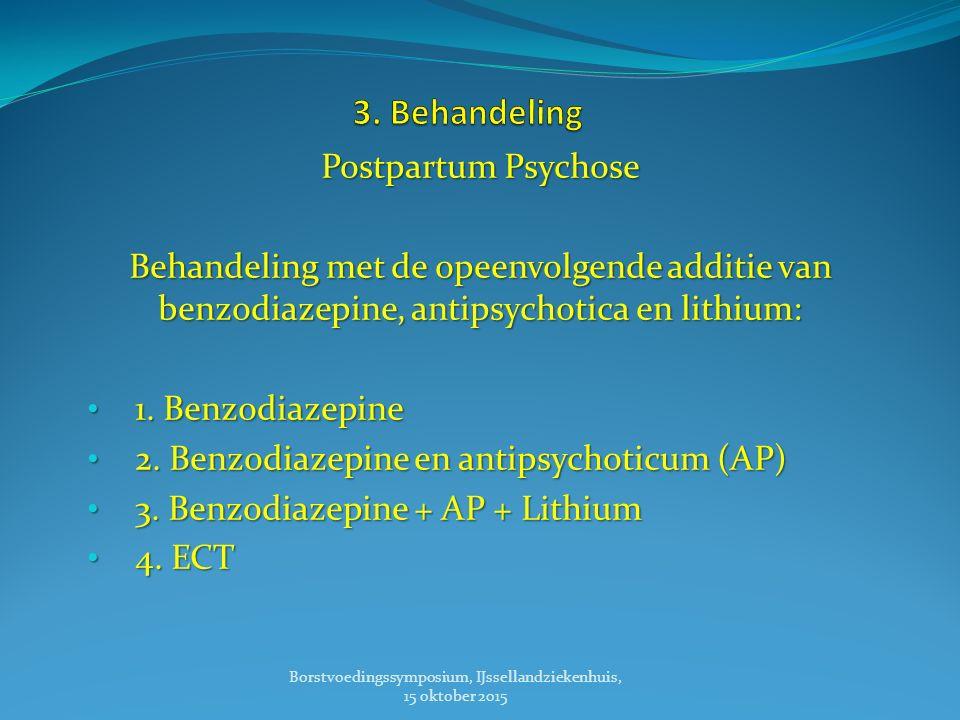 Postpartum Psychose Behandeling met de opeenvolgende additie van benzodiazepine, antipsychotica en lithium: 1.