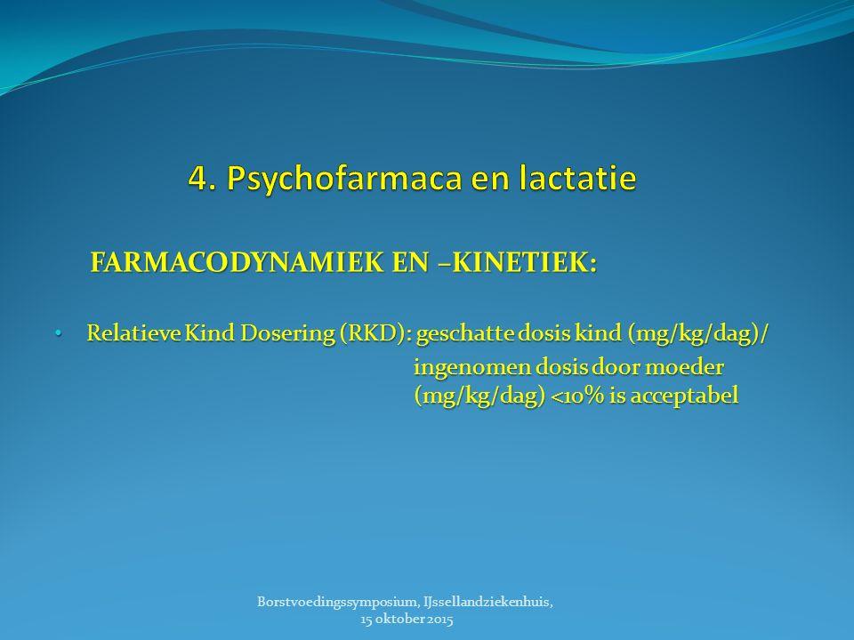 FARMACODYNAMIEK EN –KINETIEK: Relatieve Kind Dosering (RKD): geschatte dosis kind (mg/kg/dag)/ Relatieve Kind Dosering (RKD): geschatte dosis kind (mg/kg/dag)/ ingenomen dosis door moeder (mg/kg/dag) <10% is acceptabel ingenomen dosis door moeder (mg/kg/dag) <10% is acceptabel Borstvoedingssymposium, IJssellandziekenhuis, 15 oktober 2015