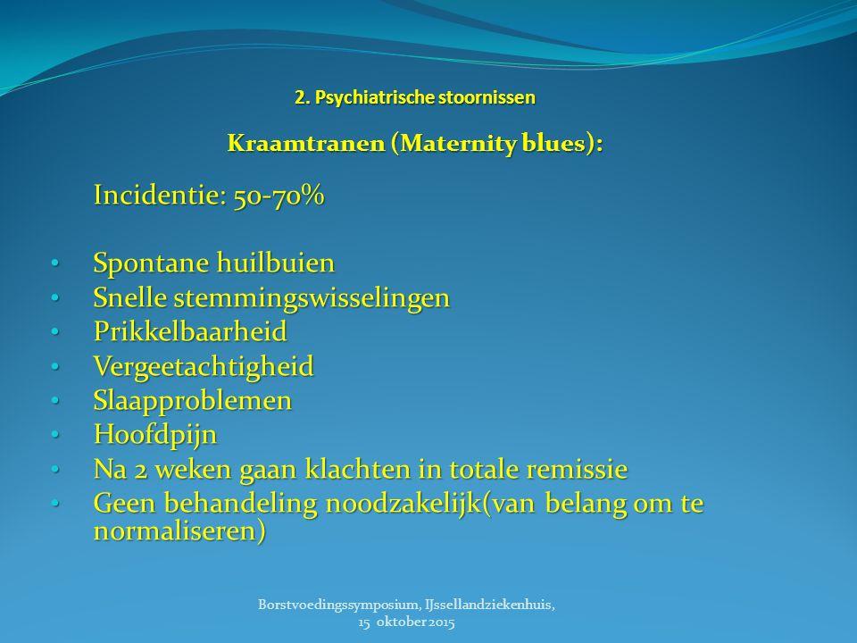 Post Partum Depressie Incidentie: 10-15% Risico factoren: Stemmingsstoornis in de voorgeschiedenis Stemmingsstoornis in de voorgeschiedenis Een positieve familie anamnese (eerste graad) Een positieve familie anamnese (eerste graad) Obstetrische complicaties (bv keizersnede) Obstetrische complicaties (bv keizersnede) Ongeplande of ongewenste zwangerschap Ongeplande of ongewenste zwangerschap Gering steunsysteem, alleenstaande, lage SES Gering steunsysteem, alleenstaande, lage SES Borstvoedingssymposium, IJssellandziekenhuis, 15 oktober 2015