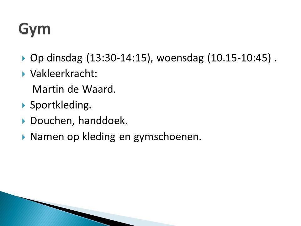  Op dinsdag (13:30-14:15), woensdag (10.15-10:45).