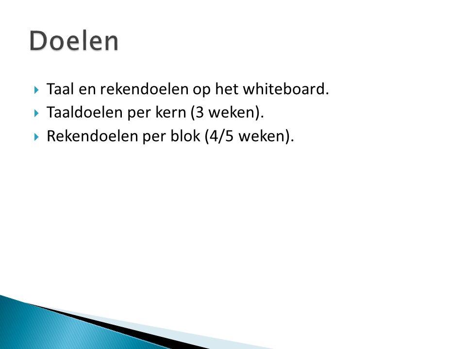  Taal en rekendoelen op het whiteboard.  Taaldoelen per kern (3 weken).