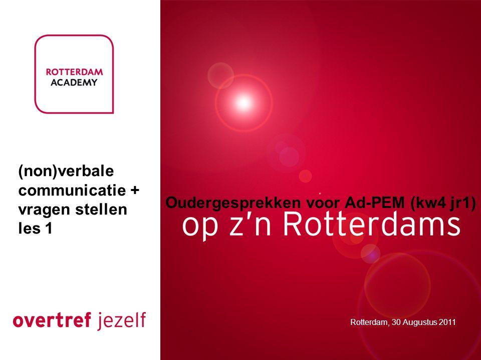 Oudergesprekken voor Ad-PEM (kw4 jr1) Rotterdam, 30 Augustus 2011 (non)verbale communicatie + vragen stellen les 1