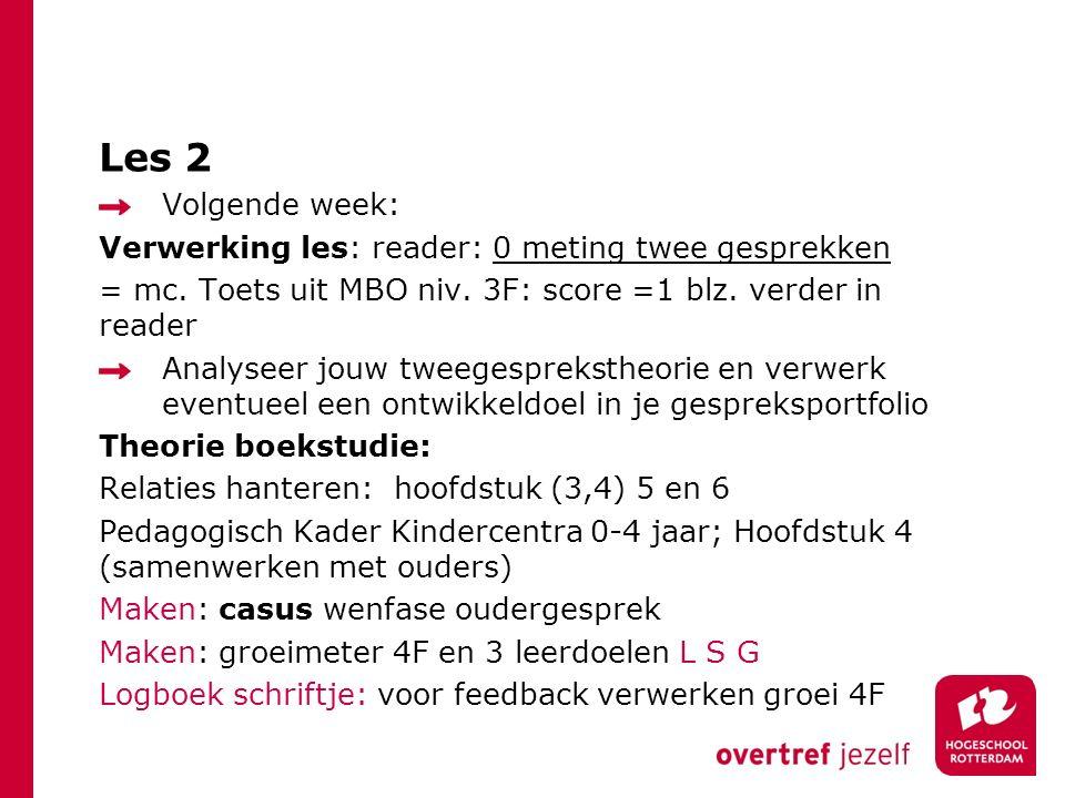 Les 2 Volgende week: Verwerking les: reader: 0 meting twee gesprekken = mc. Toets uit MBO niv. 3F: score =1 blz. verder in reader Analyseer jouw tweeg