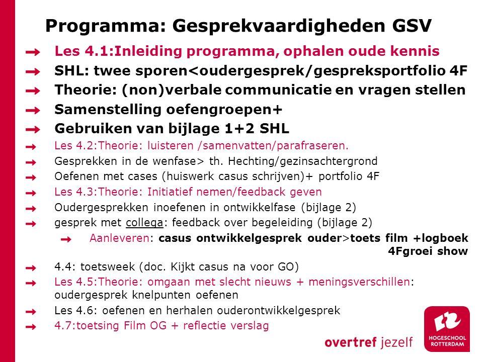 Programma: Gesprekvaardigheden GSV Les 4.1:Inleiding programma, ophalen oude kennis SHL: twee sporen<oudergesprek/gespreksportfolio 4F Theorie: (non)v