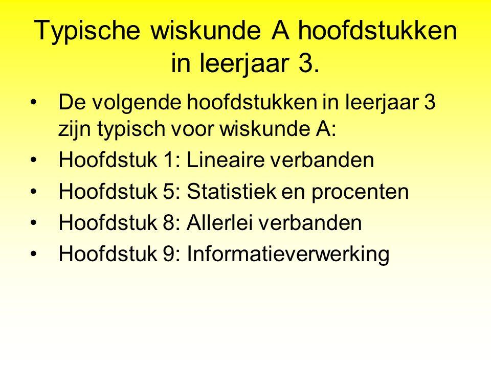 Typische wiskunde A hoofdstukken in leerjaar 3. De volgende hoofdstukken in leerjaar 3 zijn typisch voor wiskunde A: Hoofdstuk 1: Lineaire verbanden H
