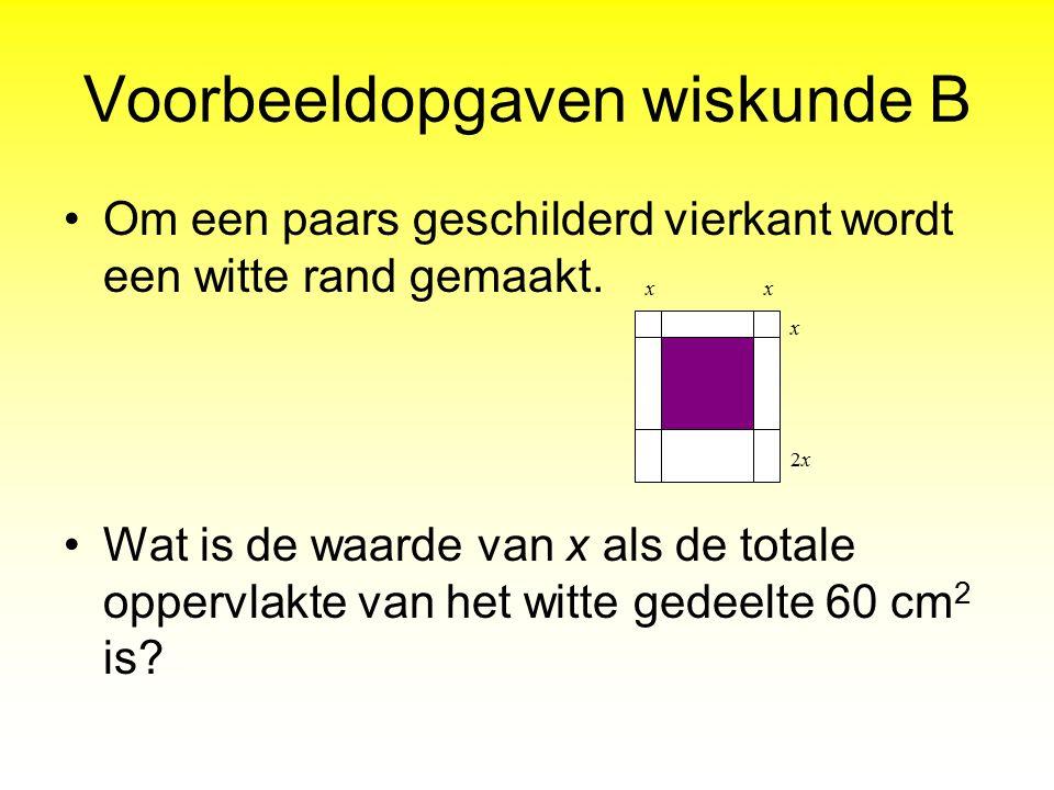 Voorbeeldopgaven wiskunde B Om een paars geschilderd vierkant wordt een witte rand gemaakt. Wat is de waarde van x als de totale oppervlakte van het w