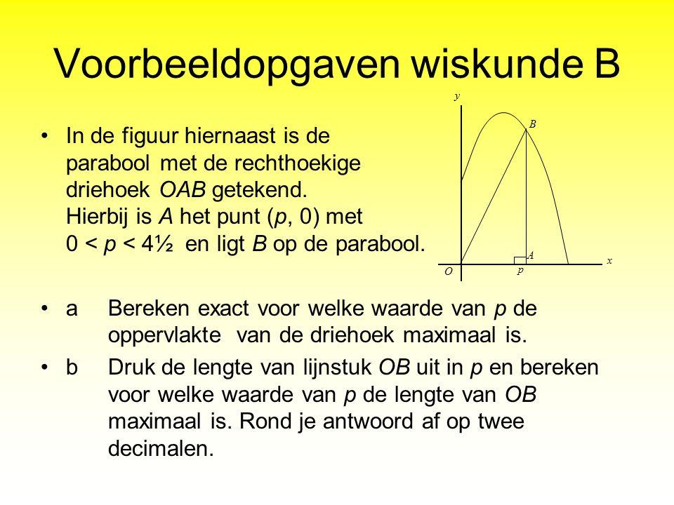 Voorbeeldopgaven wiskunde B In de figuur hiernaast is de parabool met de rechthoekige driehoek OAB getekend. Hierbij is A het punt (p, 0) met 0 < p <