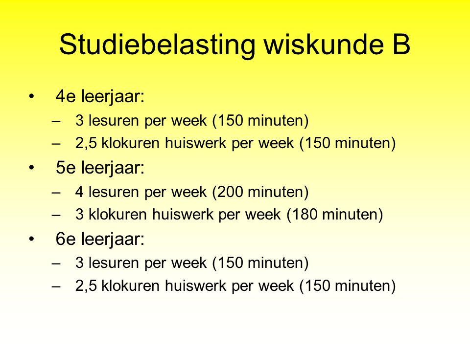 Studiebelasting wiskunde B 4e leerjaar: –3 lesuren per week (150 minuten) –2,5 klokuren huiswerk per week (150 minuten) 5e leerjaar: –4 lesuren per we