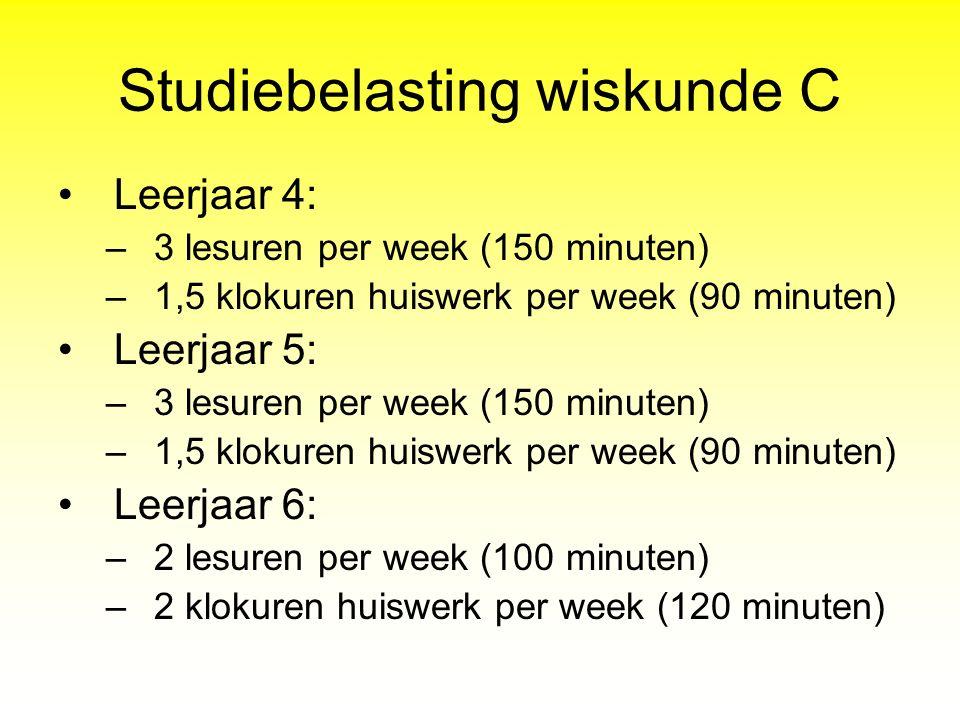 Studiebelasting wiskunde C Leerjaar 4: –3 lesuren per week (150 minuten) –1,5 klokuren huiswerk per week (90 minuten) Leerjaar 5: –3 lesuren per week