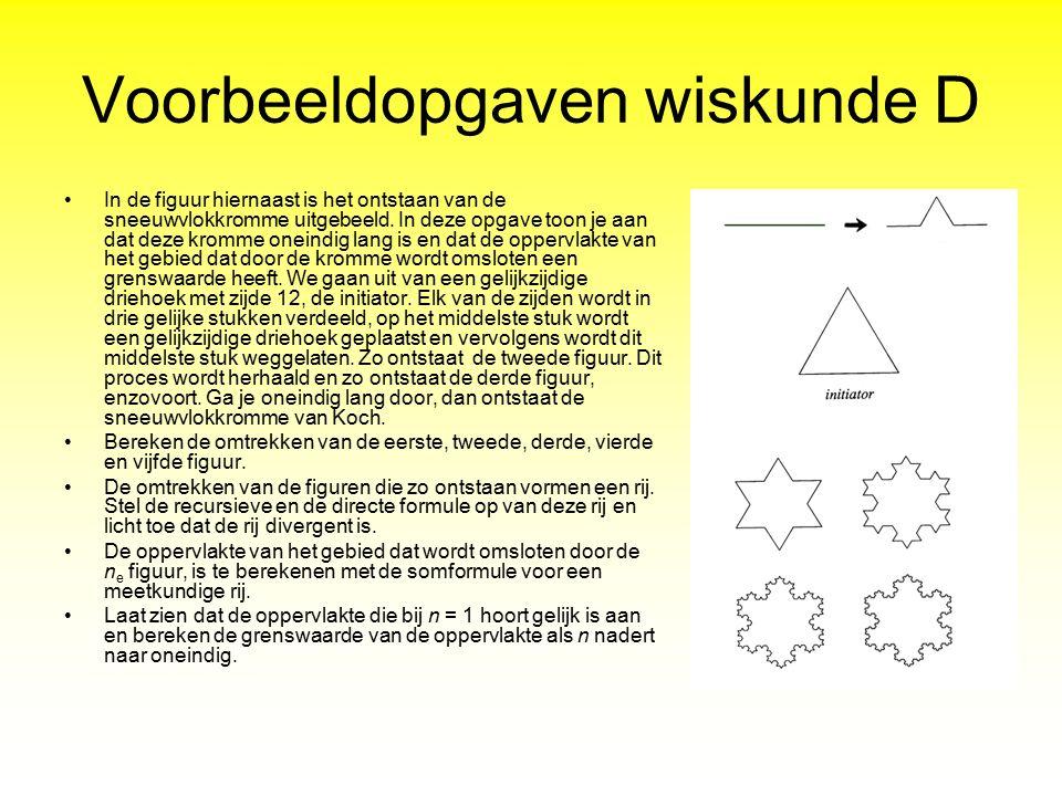 Voorbeeldopgaven wiskunde D In de figuur hiernaast is het ontstaan van de sneeuwvlokkromme uitgebeeld. In deze opgave toon je aan dat deze kromme onei