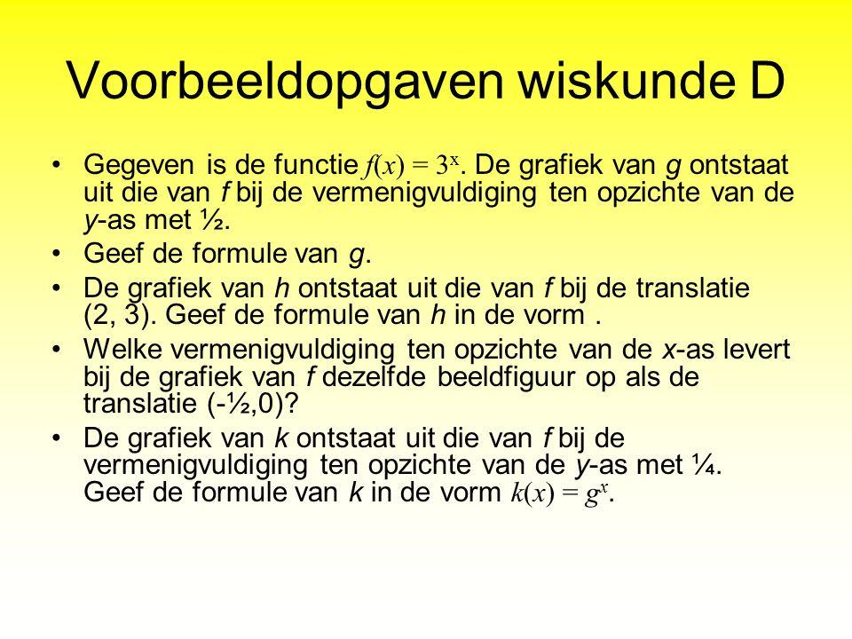 Voorbeeldopgaven wiskunde D Gegeven is de functie f(x) = 3 x. De grafiek van g ontstaat uit die van f bij de vermenigvuldiging ten opzichte van de y-a