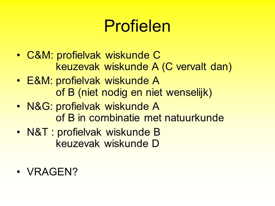 Profielen C&M: profielvak wiskunde C keuzevak wiskunde A (C vervalt dan) E&M: profielvak wiskunde A of B (niet nodig en niet wenselijk) N&G: profielva