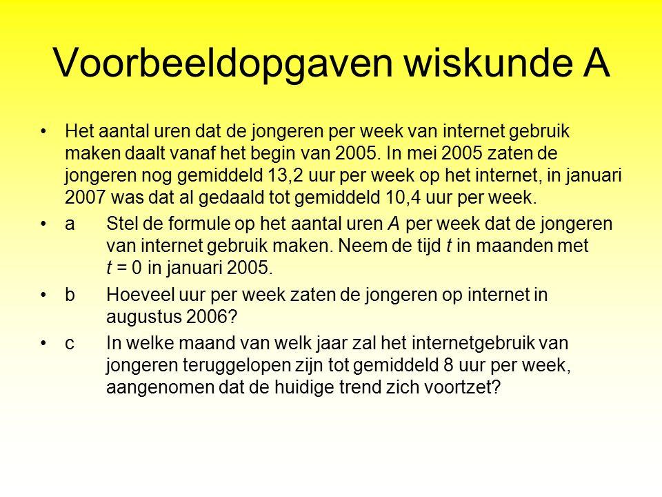 Voorbeeldopgaven wiskunde A Het aantal uren dat de jongeren per week van internet gebruik maken daalt vanaf het begin van 2005. In mei 2005 zaten de j