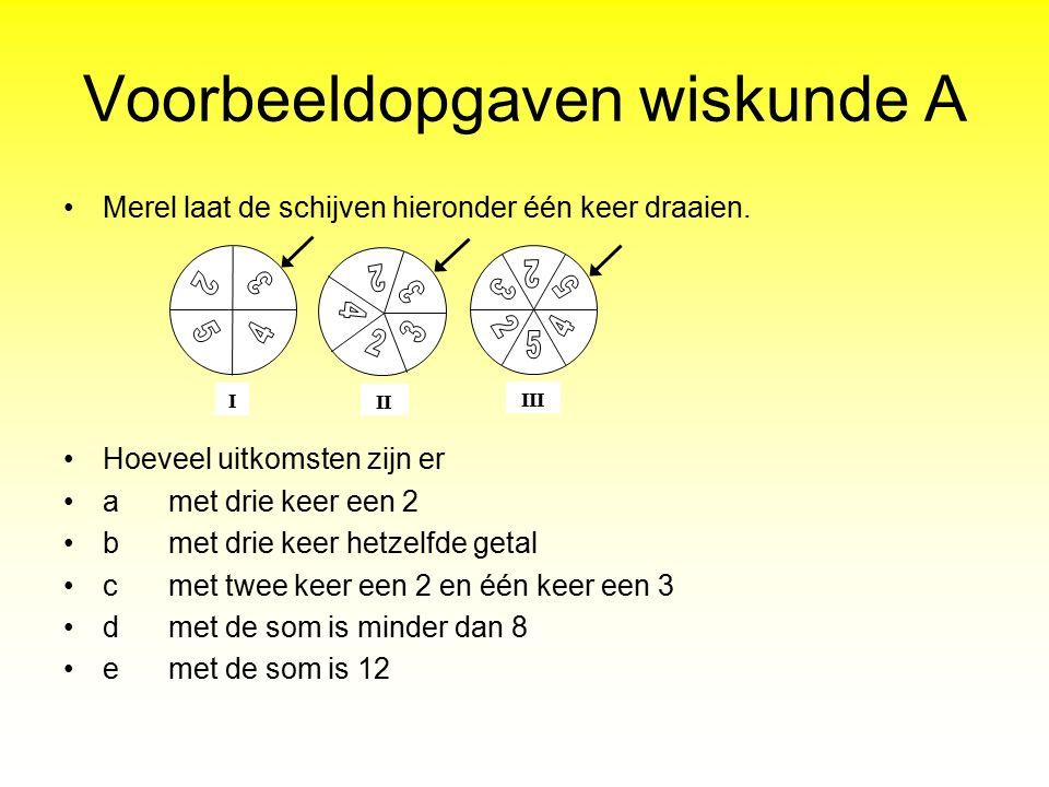Voorbeeldopgaven wiskunde A Merel laat de schijven hieronder één keer draaien. Hoeveel uitkomsten zijn er amet drie keer een 2 bmet drie keer hetzelfd