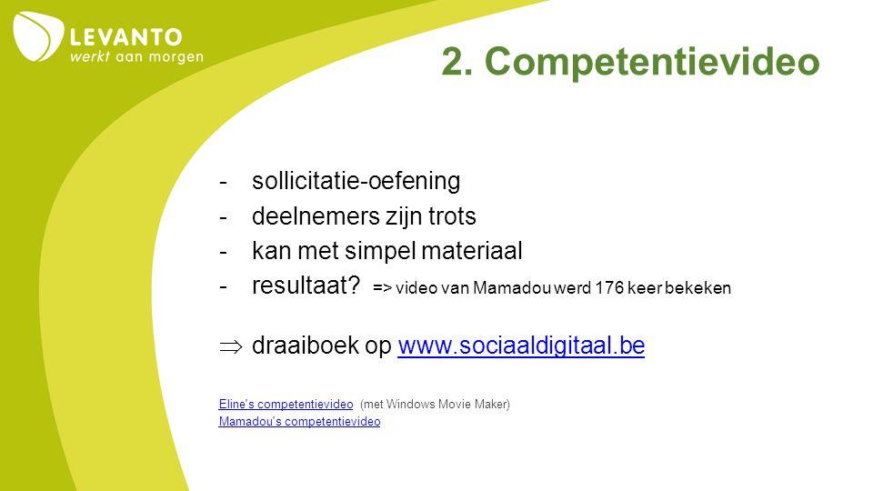 -sollicitatie-oefening -deelnemers zijn trots -kan met simpel materiaal -resultaat? => video van Mamadou werd 176 keer bekeken  draaiboek op www.soci