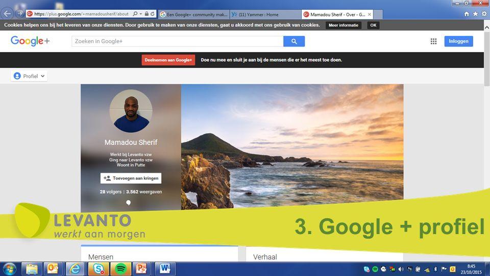 3. Google + profiel