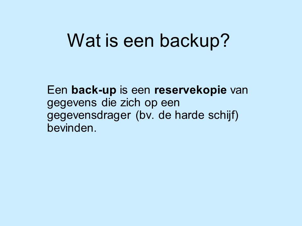 Wat is een backup. Een back-up is een reservekopie van gegevens die zich op een gegevensdrager (bv.
