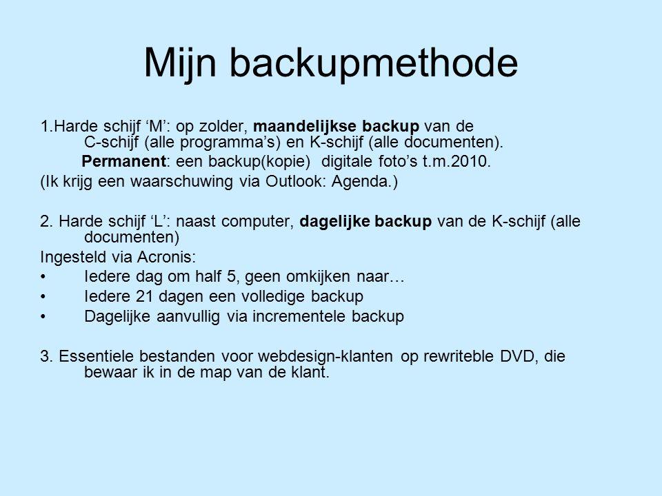 Mijn backupmethode 1.Harde schijf 'M': op zolder, maandelijkse backup van de C-schijf (alle programma's) en K-schijf (alle documenten).