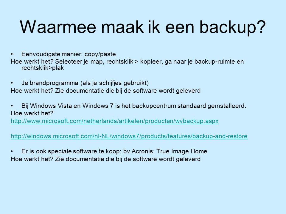 Waarmee maak ik een backup. Eenvoudigste manier: copy/paste Hoe werkt het.