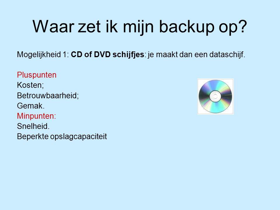 Waar zet ik mijn backup op. Mogelijkheid 1: CD of DVD schijfjes: je maakt dan een dataschijf.
