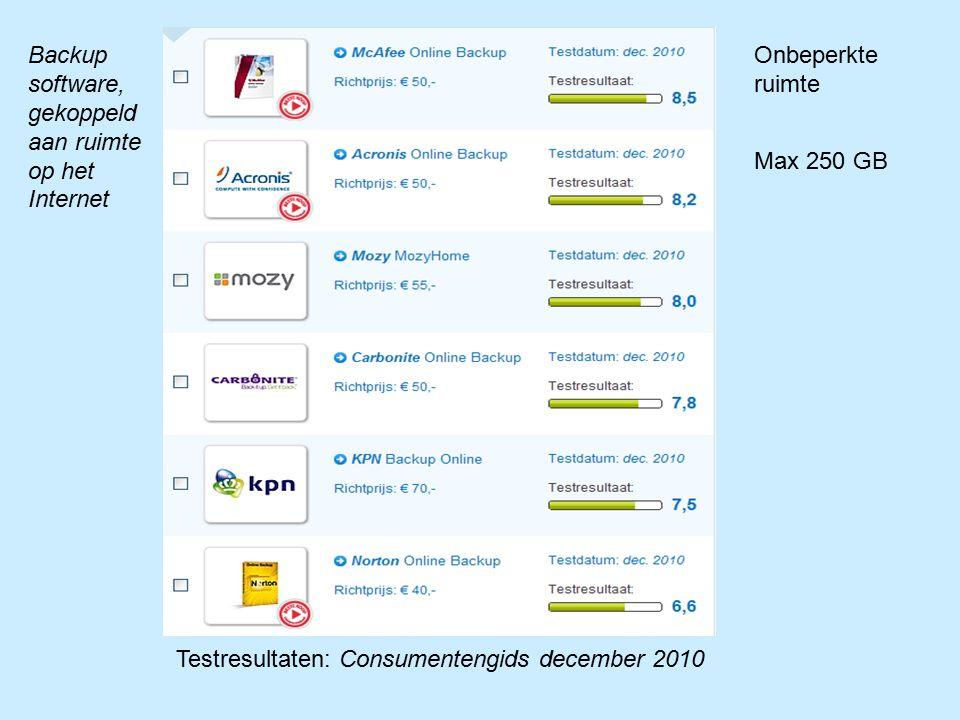 Onbeperkte ruimte Max 250 GB Testresultaten: Consumentengids december 2010 Backup software, gekoppeld aan ruimte op het Internet