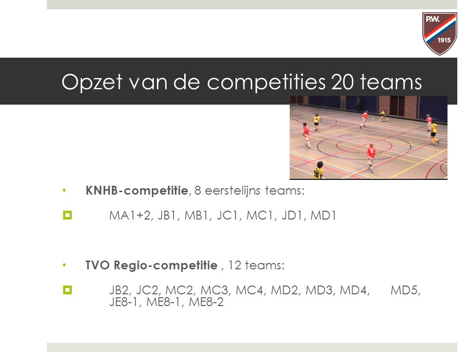 Opzet van de competities 20 teams KNHB-competitie, 8 eerstelijns teams:  MA1+2, JB1, MB1, JC1, MC1, JD1, MD1 TVO Regio-competitie, 12 teams:  JB2, J