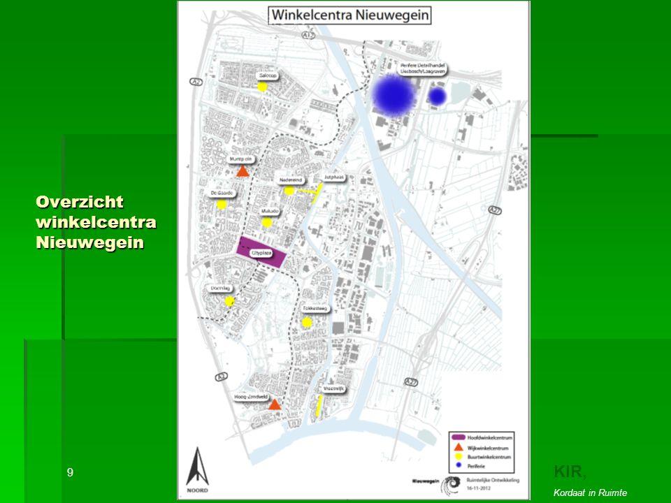 Overzicht winkelcentra Nieuwegein 9 KIR, Kordaat in Ruimte