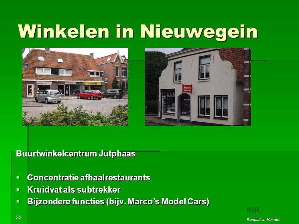 Winkelen in Nieuwegein Buurtwinkelcentrum Jutphaas  Concentratie afhaalrestaurants  Kruidvat als subtrekker  Bijzondere functies (bijv.