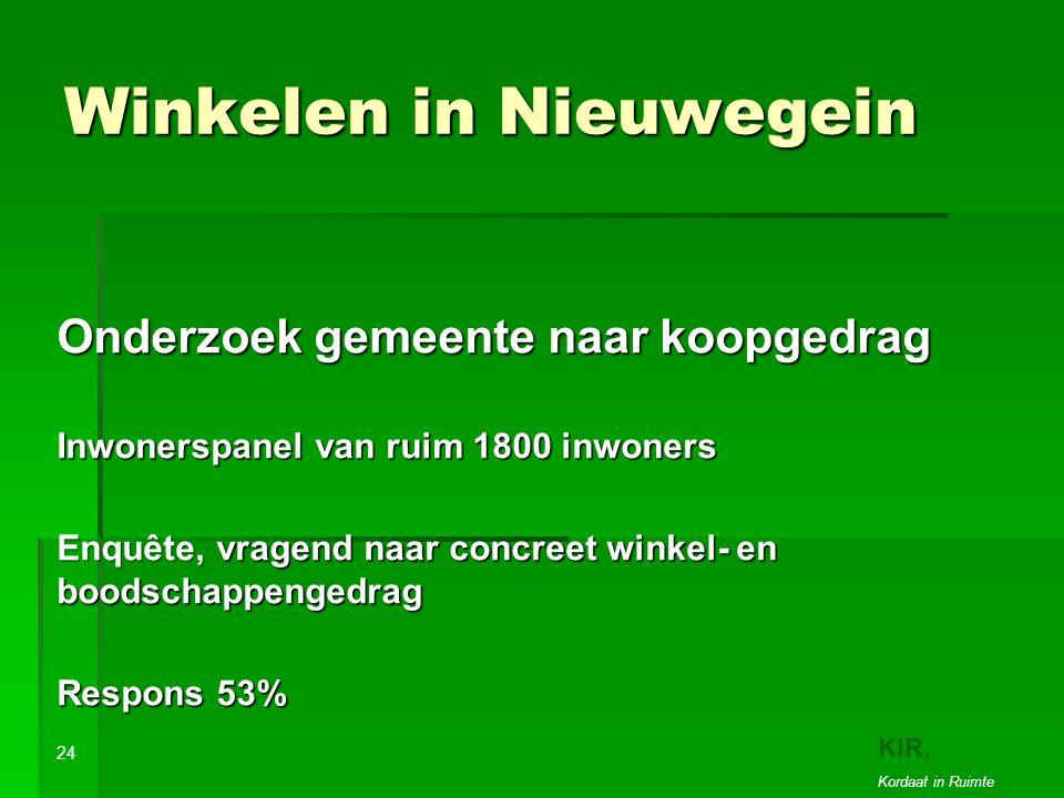 Winkelen in Nieuwegein Onderzoek gemeente naar koopgedrag Inwonerspanel van ruim 1800 inwoners Enquête, vragend naar concreet winkel- en boodschappengedrag Respons 53% 24 KIR, Kordaat in Ruimte