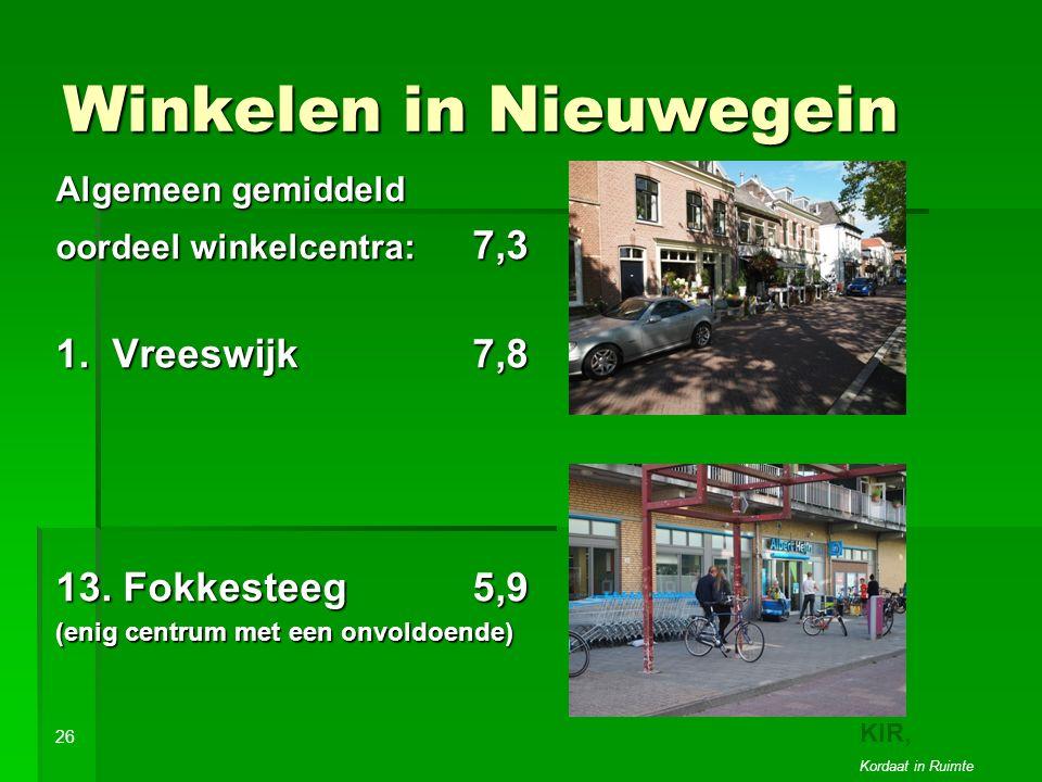 Winkelen in Nieuwegein Algemeen gemiddeld oordeel winkelcentra: 7,3 1.
