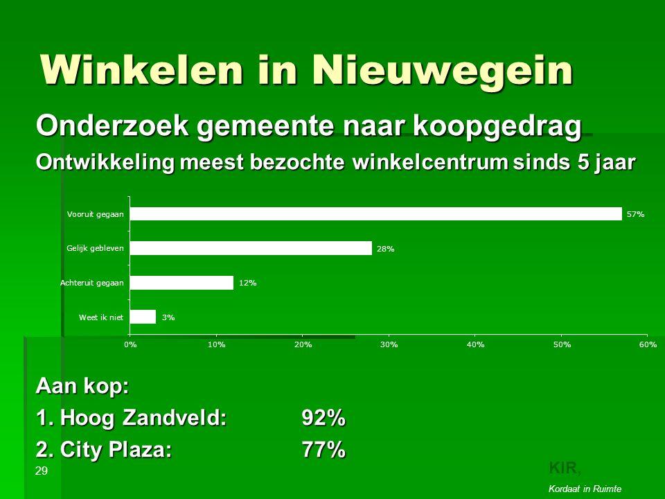 Winkelen in Nieuwegein Onderzoek gemeente naar koopgedrag Ontwikkeling meest bezochte winkelcentrum sinds 5 jaar Aan kop: 1.