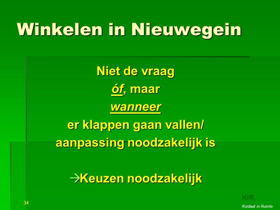 Winkelen in Nieuwegein Niet de vraag óf, maar wanneer er klappen gaan vallen/ aanpassing noodzakelijk is  Keuzen noodzakelijk 34 22 KIR, Kordaat in Ruimte
