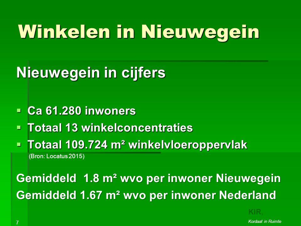 Winkelen in Nieuwegein Nieuwegein in cijfers  Ca 61.280 inwoners  Totaal 13 winkelconcentraties  Totaal 109.724 m² winkelvloeroppervlak (Bron: Locatus 2015) Gemiddeld 1.8 m² wvo per inwoner Nieuwegein Gemiddeld 1.67 m² wvo per inwoner Nederland 7 KIR, Kordaat in Ruimte