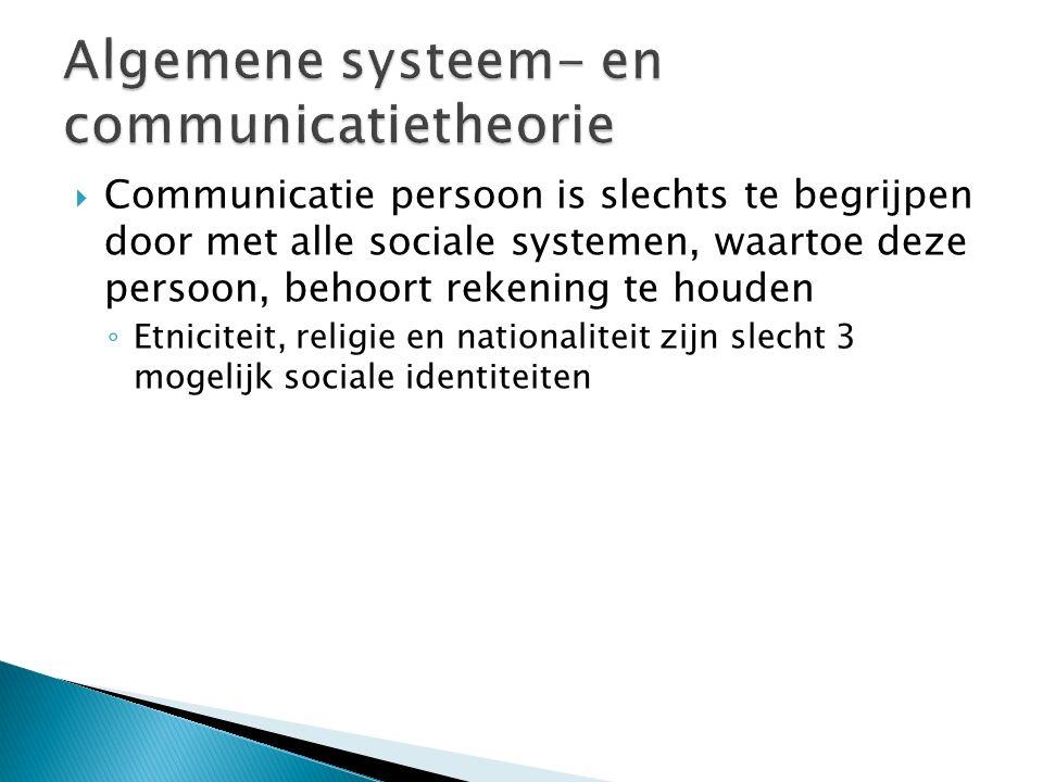  Communicatie persoon is slechts te begrijpen door met alle sociale systemen, waartoe deze persoon, behoort rekening te houden ◦ Etniciteit, religie