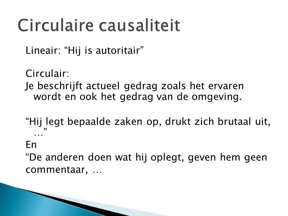 Lineair: Hij is autoritair Circulair: Je beschrijft actueel gedrag zoals het ervaren wordt en ook het gedrag van de omgeving.