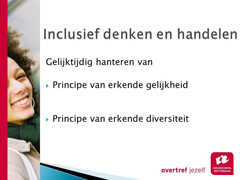 Gelijktijdig hanteren van  Principe van erkende gelijkheid  Principe van erkende diversiteit