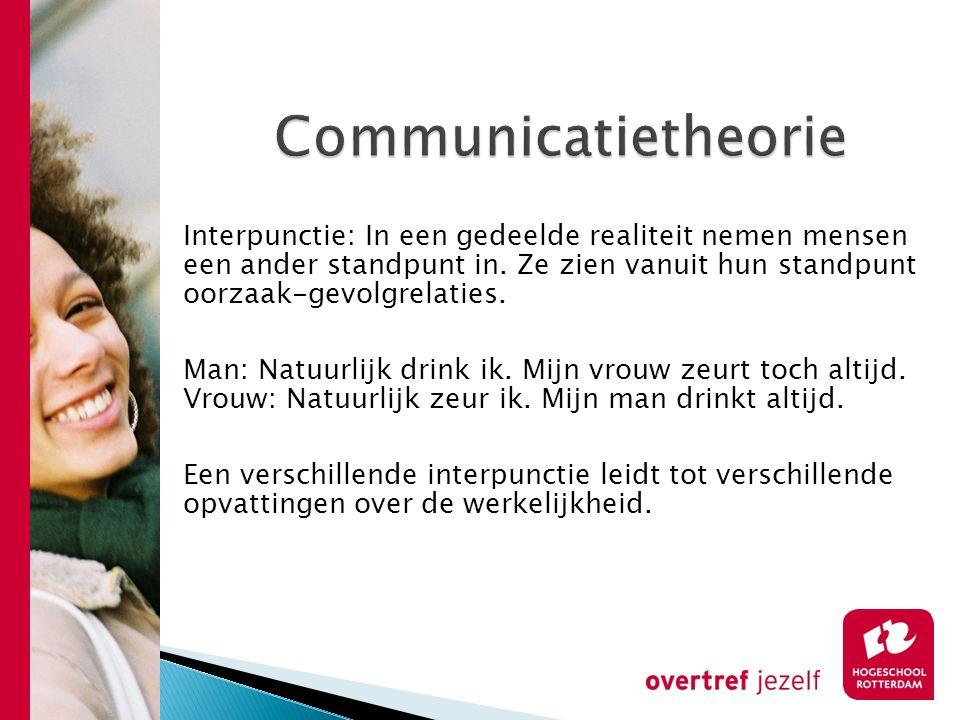 Communicatietheorie Interpunctie: In een gedeelde realiteit nemen mensen een ander standpunt in. Ze zien vanuit hun standpunt oorzaak-gevolgrelaties.