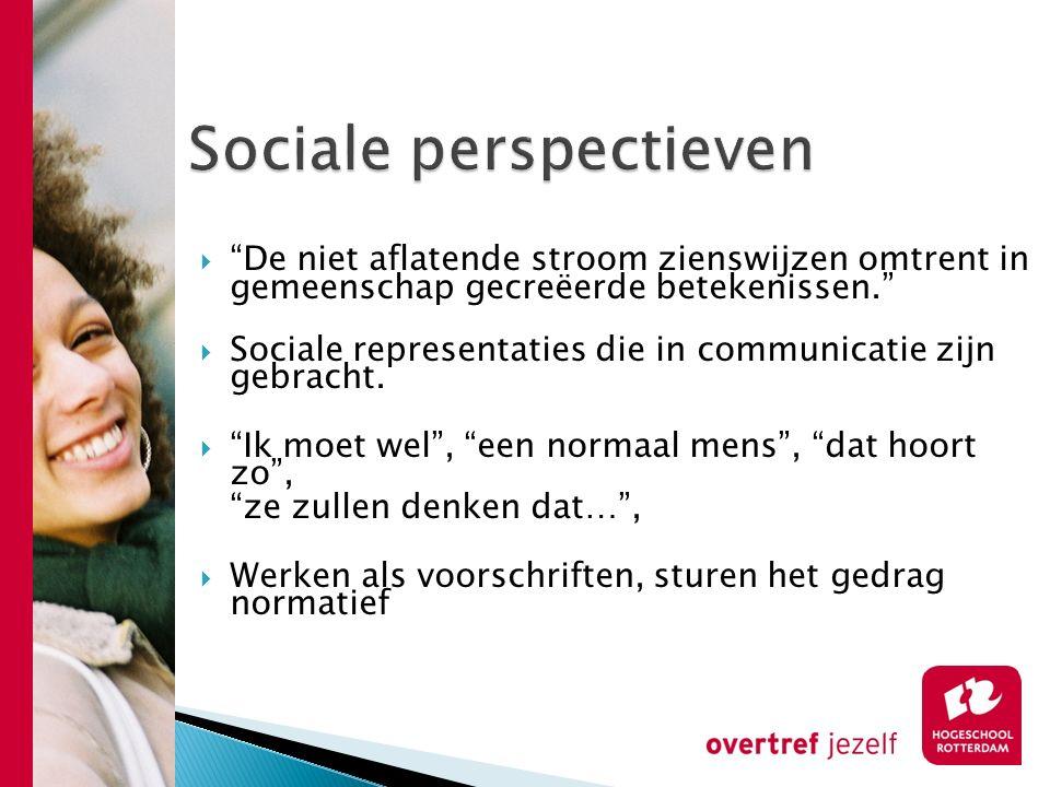 """ """"De niet aflatende stroom zienswijzen omtrent in gemeenschap gecreëerde betekenissen.""""  Sociale representaties die in communicatie zijn gebracht. """
