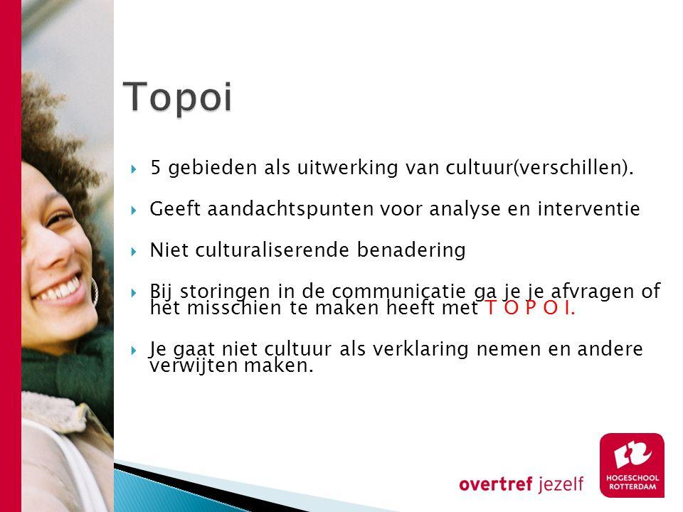  5 gebieden als uitwerking van cultuur(verschillen).  Geeft aandachtspunten voor analyse en interventie  Niet culturaliserende benadering  Bij sto