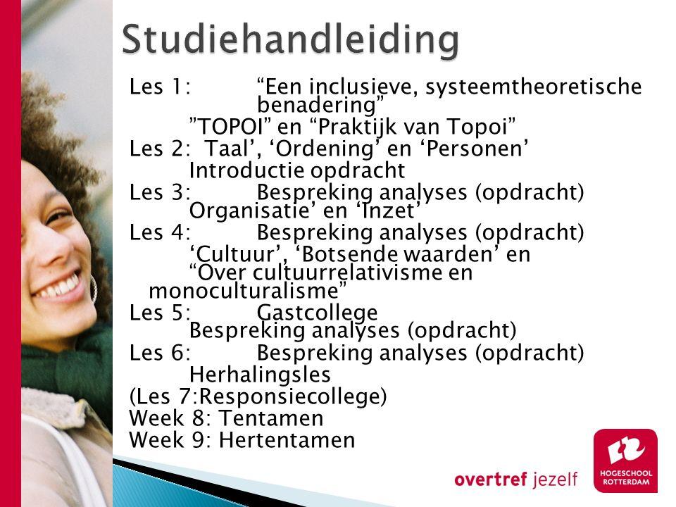 """Les 1:""""Een inclusieve, systeemtheoretische benadering"""" """"TOPOI"""" en """"Praktijk van Topoi"""" Les 2: Taal', 'Ordening' en 'Personen' Introductie opdracht Les"""