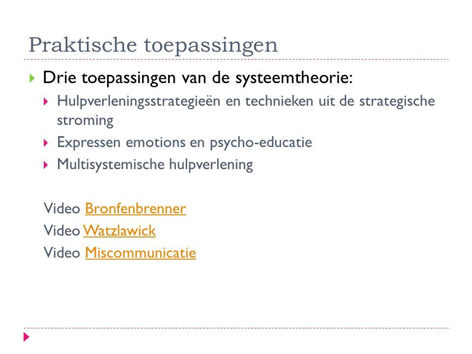  Drie toepassingen van de systeemtheorie:  Hulpverleningsstrategieën en technieken uit de strategische stroming  Expressen emotions en psycho-educa