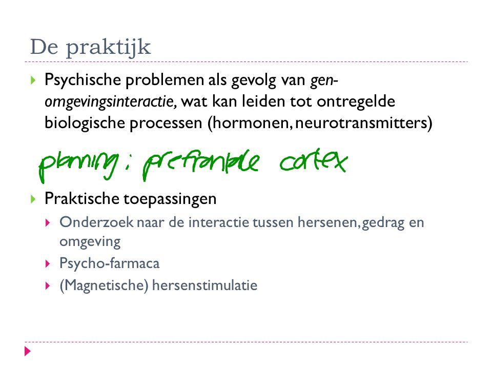 De praktijk  Psychische problemen als gevolg van gen- omgevingsinteractie, wat kan leiden tot ontregelde biologische processen (hormonen, neurotransm