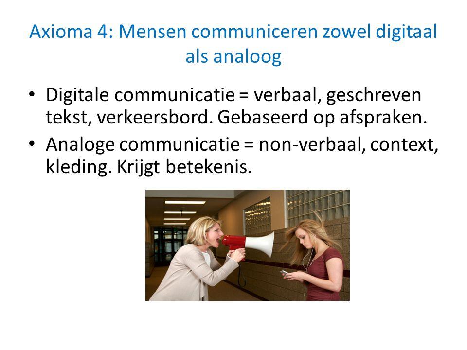 Axioma 4: Mensen communiceren zowel digitaal als analoog Digitale communicatie = verbaal, geschreven tekst, verkeersbord. Gebaseerd op afspraken. Anal