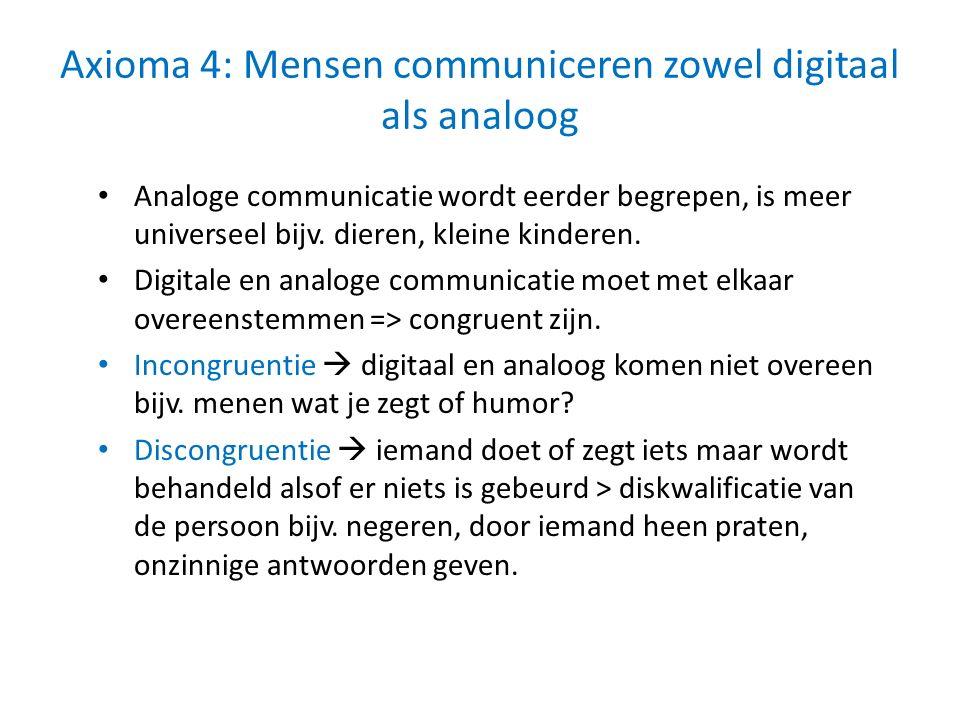 Axioma 4: Mensen communiceren zowel digitaal als analoog Analoge communicatie wordt eerder begrepen, is meer universeel bijv. dieren, kleine kinderen.