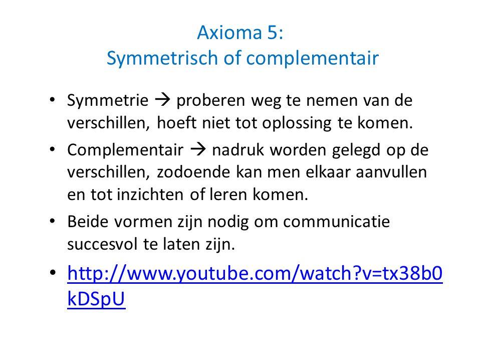 Axioma 5: Symmetrisch of complementair Symmetrie  proberen weg te nemen van de verschillen, hoeft niet tot oplossing te komen. Complementair  nadruk