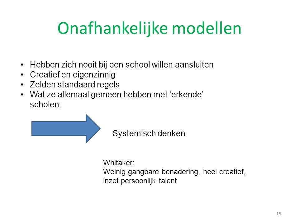 Onafhankelijke modellen 15 Hebben zich nooit bij een school willen aansluiten Creatief en eigenzinnig Zelden standaard regels Wat ze allemaal gemeen h