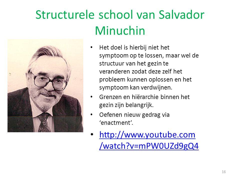 Structurele school van Salvador Minuchin Het doel is hierbij niet het symptoom op te lossen, maar wel de structuur van het gezin te veranderen zodat d