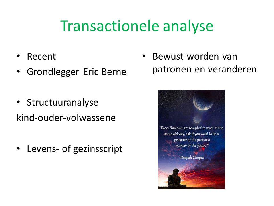 Transactionele analyse Recent Grondlegger Eric Berne Structuuranalyse kind-ouder-volwassene Levens- of gezinsscript Bewust worden van patronen en vera