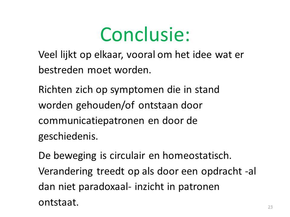 Conclusie: 23 Veel lijkt op elkaar, vooral om het idee wat er bestreden moet worden. Richten zich op symptomen die in stand worden gehouden/of ontstaa